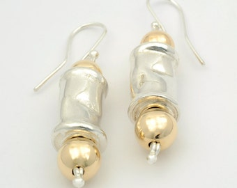 Hammered Sterling Silver Tube Drop Earrings with Gold Filled Balls, Sterling Silver and Gold Tube Earrings, Silver earrings, Artisan Silver