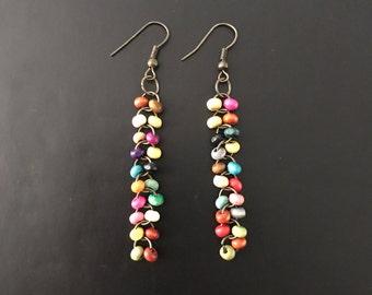 Multicolored Bead Long Dangle Earrings