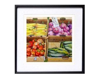 Farmers Market Art Print watercolor painting Vegetables fruit artwork Farmhouse decor red painting green viola purple yellow Fruit A