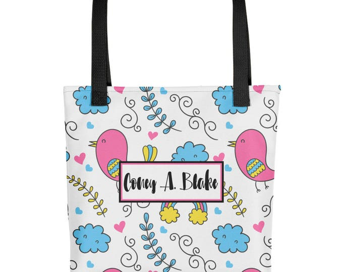 Personalized Name Whimsical Bird Pattern Tote bag   Custom Tote Bag   Personalized Tote   Personalized bag   Reusuable bags   Shopping bag