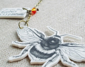 Bumble Bee Necklace, Shrink Plastic Jewellery, Shrinky Dink Jewellery. Statement Jewellery