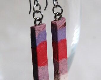 Girly Hanji Paper Earrings OOAK Patchwork Pink Purple White Boho Earrings Hypoallergenic hooks Dangle Earrings Lightweight