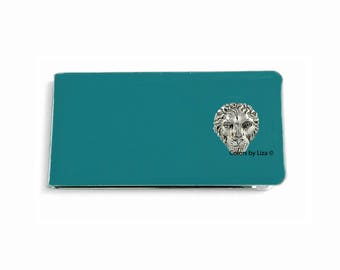 Lion Head Money Clip Inlaid in Hand Painted Glossy Enamel Finish Teal Opaque with Personalized and Assorted Color Options
