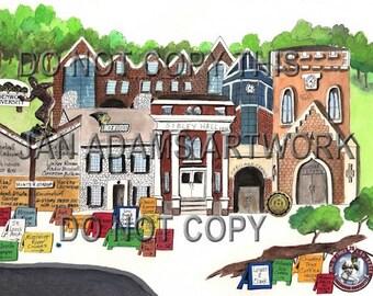 GRADUATION - LINDENWOOD in St. Charles - Watercolor Painting Graduation Gift Full of Memories Missouri Retirement HouseWarming