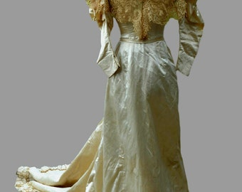 1890ies French Satin and Lace Wedding Dress with Train