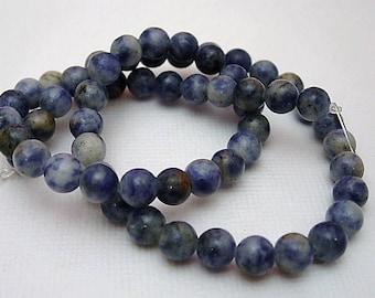 Lapis lazuli stone drilled 6mm.