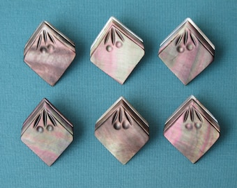 """6 Buttons Set Carved Smoky Mother of Pearl Rainbow Luster Victorian c.1890 NBS Medium 15/16"""" Stylized Cherries Metal Shanks"""