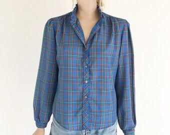 Vintage 80's Plaid Cotton Ruffle Blouse. Size Small