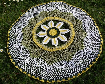 Large crochet doily handmade cotton white yellow and green.