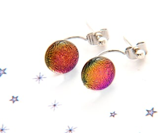 Pink fused glass earrings dichroic chip nail