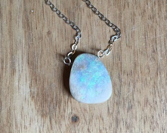 Opal Necklace - Raw Opal Necklace - Opal Jewelry - Raw Stone Necklace - Crystal Necklace - October Birthstone Necklace - Gift for Mom