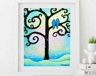 Love Birds Print Whimsical Tree of Life Aqua Wall Art Bedroom Decor Gift for Couple