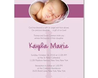 Baptism or Christening Announcement - Photographer Templates (Kayla Purple)