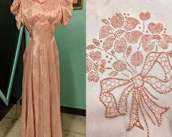 Vintage 30s Dress Pink Formal Gown Satin & Flocked Velvet 1930s