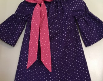 purple dress, purple tunic dress,  Girls purple  dress, 3/4 length sleeves  2t,3t,4t,5t, 6,7,8,10,