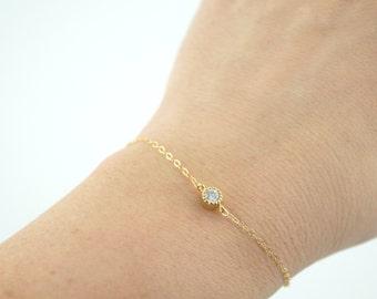 Dainty CZ Bracelet, Minimalist Bracelet, Dainty Gold Bracelet, Sterling Silver Bracelet, Bridesmaid Bracelet, Simple, Cubic Zirconia
