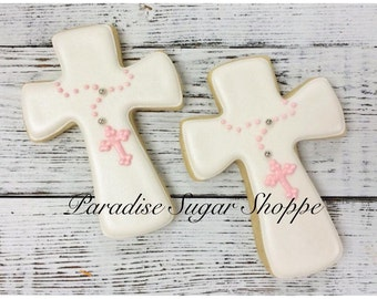 Cross with Rosary Communion Baptism Decorated Cookies - 1 Dozen
