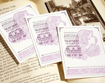 From the Library Inspiring the Reveries and Passions of Dear Reader - FANCIFUL & FEMININE - Letterpress Bookplates - Set of 10