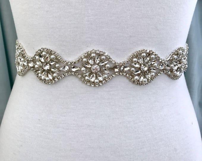 Silver crystal Bridal Belt, Bridal Sash, Wedding Belt, Wedding Sash Rhinestone prom belt B29