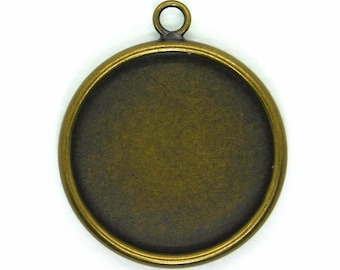 18mm Round Resin Bezel Pendant_Antiqued Brass_2 Pendants_Mixed Media_Resin Bezel_Crystal Clay_Jewelry Design