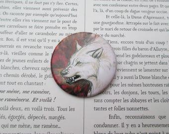 werewolf red pin brooch badge