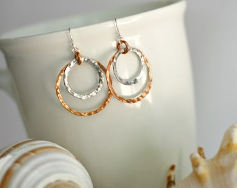 Hand Textures Copper and Sterling Silver Circle Earrings, Copper and Silver Hoops, Copper and Silver Earrings, Mixed Metal Earrings, Hoops