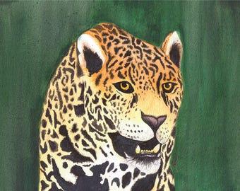 original watercolour leopard painting