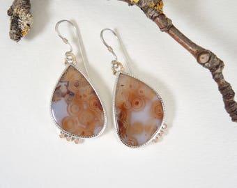 Translucent Ocean Jasper Dangle Earrings, Sterling Silver, 14kt Gold