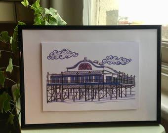 Seaside Collection - Hand Drawn The Pier Art Print, Wall Art, Beach Print, Seaside