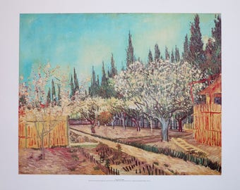 Vincent van Gogh exhibition poster - Orchard in blossom bordered by cypresses - Arles Provence France - museum print - offset lithograph