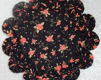 Mini Peachy-Pink Roses on Black Yo Yo Doily
