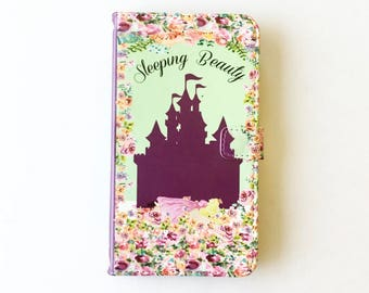 Book phone /iPhone flip Wallet case- Sleeping Beauty for  iPhone X, 8, 7, 6, 6 7 & 8 plus, Samsung Galaxy S9 S8 S7 S6 S5 Note 4, 5, 7 8, LG
