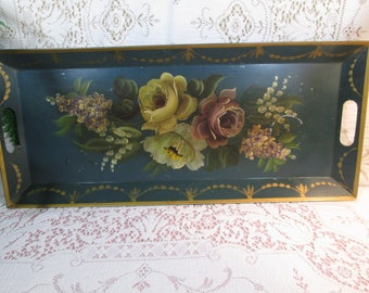 Toleware Tray, Handled Serving Tray,  Hand Tole Painted Tin Tray