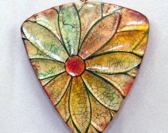 Polymer clay Handmade faux ceramic flower pendant, focal pendant, 49mm, rust, green, yellow, aged worn rustic, jewelry design, component