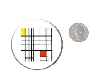 Mondrian Art Refrigerator Magnet  2 1/4 inches in diameter  Fridge Magnet