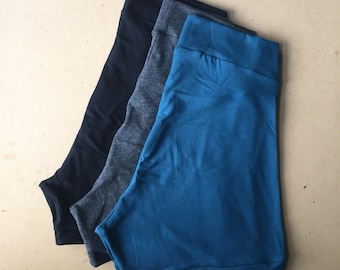 short shorts / 3 PACK / bamboo jersey shorts / yoga shorts / made to order / by replicca / size S to XL / your choice of colour