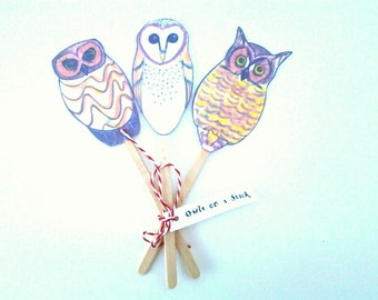 Owl Puppets, shadow puppets, owls on a stick, no. american owls, no. saw-whet, barn owl, great horned 8wl