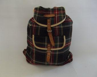 Wonderful vintage Scottish tartan backpack, rucksack, Bagsac