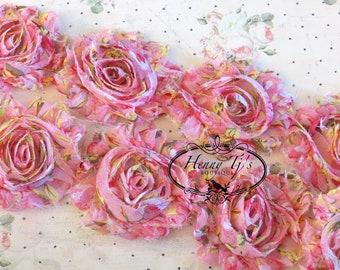 Vintage effiloché Gardenia Floral Print 2 1/2 po-1 Cour mousseline Shabby Rose Trim, Hair Bow. Mousseline de soie Rossettes