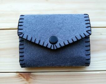 Minimalist Card Holder Wallet - Felt Card Holder - Hand Stitched Card Wallet - Gray Felt Card Case