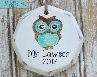 handpainted teacher owl ornament, teacher ornament, teacher gift ideas, gift for teacher, teacher thank you gift, teacher appreciation