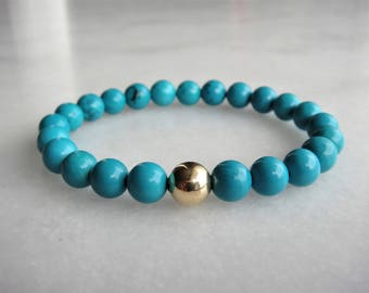 Womens turquoise bracelet with 18k gold bead / Gold bracelet for women turquoise gold bracelet genuine turquoise beaded bracelet solid gold