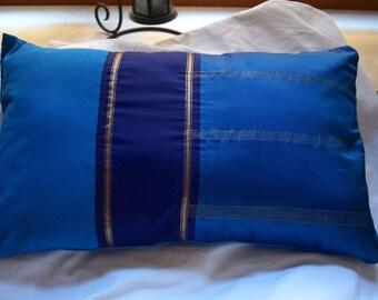 Jodhpur series 2: cushion, 30x50cm (12 x 20), blue, sari silk vintage blue cotton.
