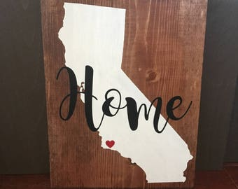 Home - State Sign / Home with heart / State Sign / Wooden home sign