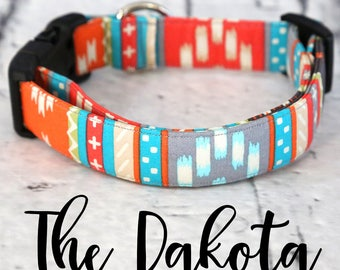 "Dog Collar-Aztec, Dog Collar, Dog Collar Tags, Dog Collars, Custom, Handmade, Girl Dog Collar, Boy Dog Collar, ""The Dakota"""
