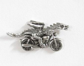 Motorcycle Dragon pewter tac pin