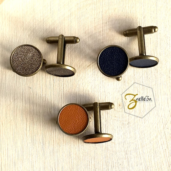 Bouton de manchette médaillon cuir Moutarde / Bleu / Doré base métal bronze 15mm - Coll. 2017/2018 Zaelleza -