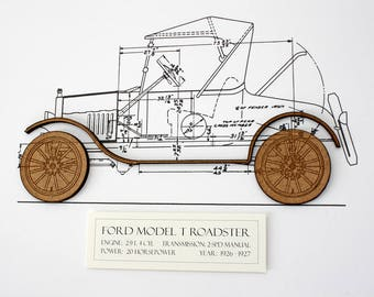 Ford Model T Blueprint, Blueprint Art, Ford Model T, Blueprints, Laser Cut wall art, Ford, Model T, Automotive Art, 8x10 or A4