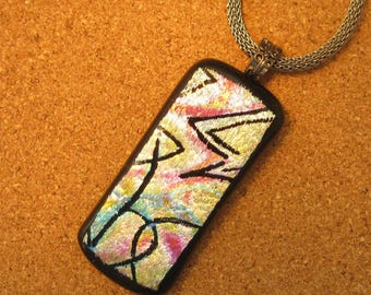 Dichroic Hand Etched Pendant -  Rainbow Dichroic Pendant - Fused Glass Jewelry - Abstract Pendant - Dichroic Jewelry - Hand Etched Dichroic