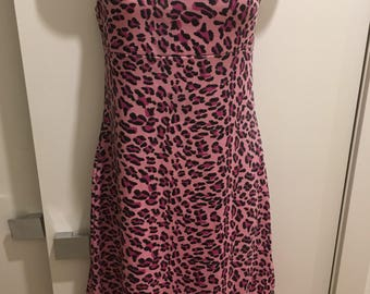 90s Pink Leopard Mini Party Dress
